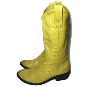 FRYE carson pull on boots YELLOW western  7 B